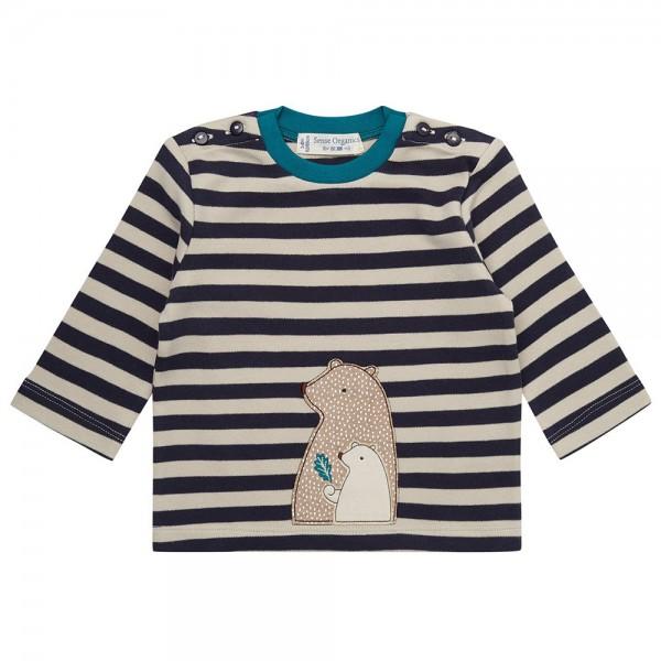 """Bio Baby-Shirt """"Streifen & Applikation Bär"""" navy/beige"""