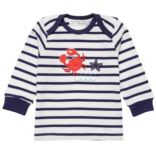 """Bio Baby-Shirt """"Streifen & Applikation Krabbe"""" navy/weiß"""