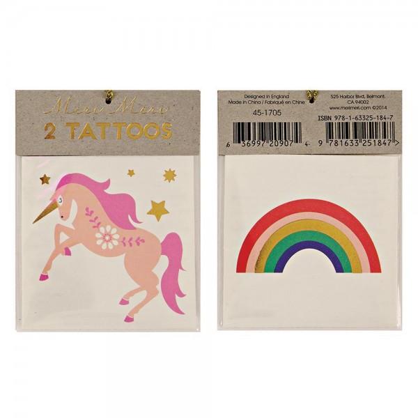 """2 Tattoos """"Einhorn & Regenbogen"""""""