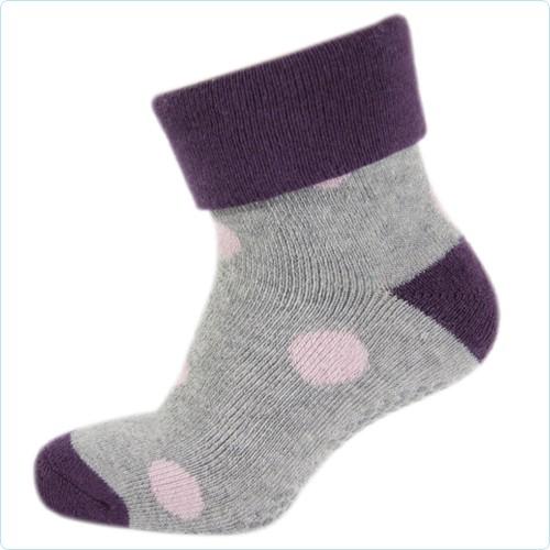Stopper-Socken grau/rosa Punkte