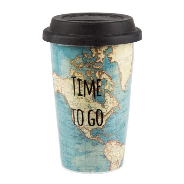 "To-Go-Becher Porzellan ""Time to go"""