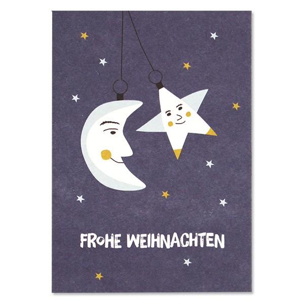 """Postkarte """"Baumschmuck - Frohe Weihnachten"""" blau"""