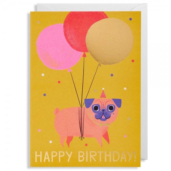 "Klappkarte Allison Black ""Happy Birthday - Mops"""