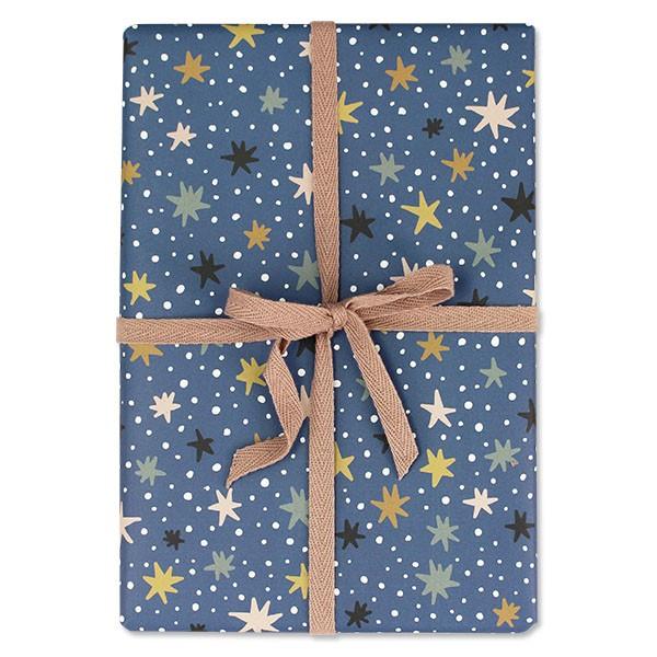 """Geschenkpapier """"Sterne & Tupfen"""" nachtblau"""