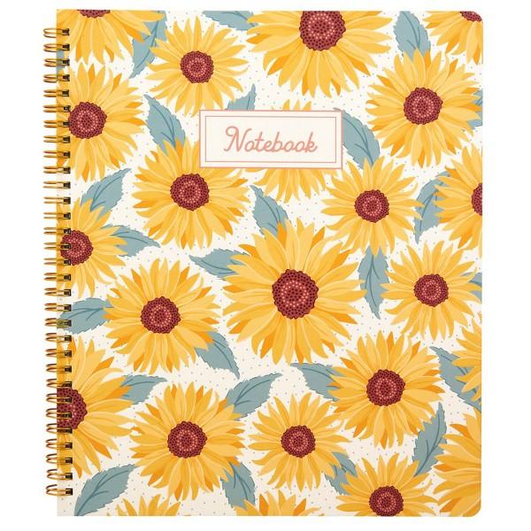 """DIN A4 Notizbuch Spiralbindung """"Sonnenblumen"""" liniert"""