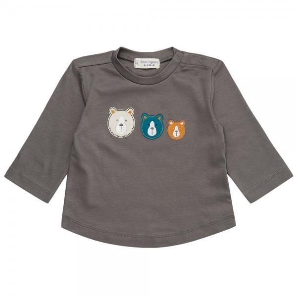 "Bio Baby-Shirt ""Applikation 3 Bären"" dunkelgrau"