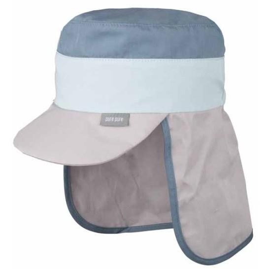 Sommercap mit Nackenschutz grau/hellblau/navy