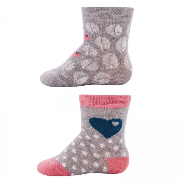 """2er-Pack Socken byGraziela """"Blätter & Herzen"""" grau/altrosa"""