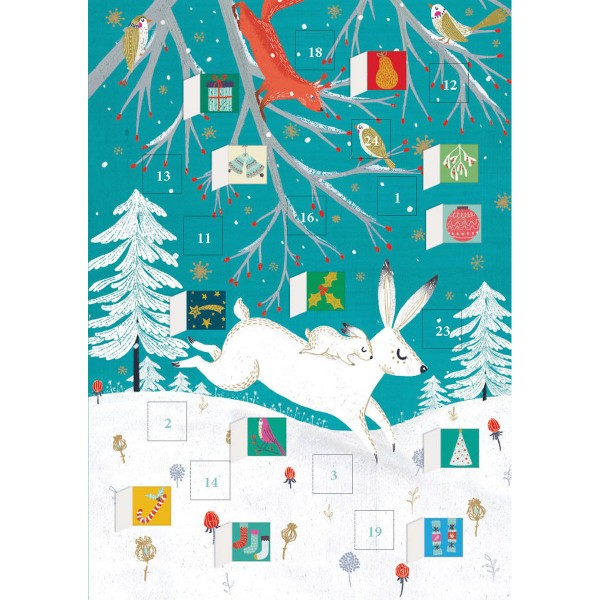 "Adventskalender-Klappkarte ""Frosty Forest Hare"""