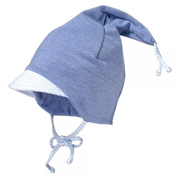 Baby-Zipfelmütze mit Blende jeansblau