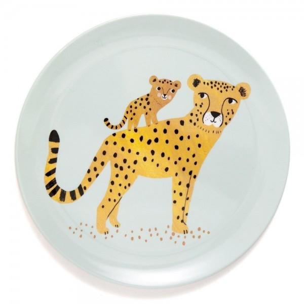 """Melamin-Teller """"Leopard"""" aqua"""