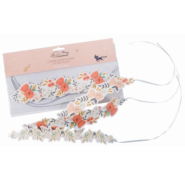 """6 Blumenkränze aus Papier """"Les Parisiennes"""""""