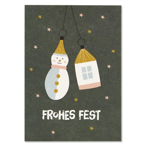 "Postkarte ""Baumschmuck - Frohes Fest"" grün"