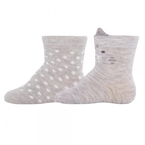 """2er-Pack Socken """"Kätzchen & Punkte"""" grau"""
