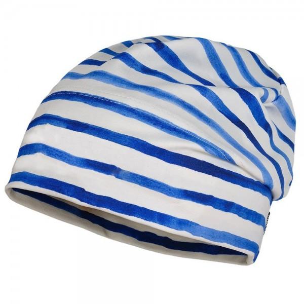 "Beanie ""Aquarell Streifen"" blau/weiß"