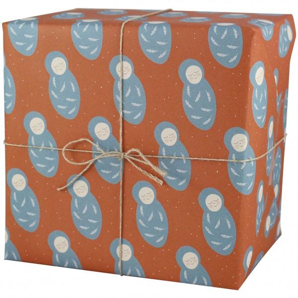 """Geschenkpapier """"Baby"""" rostrot/blau"""