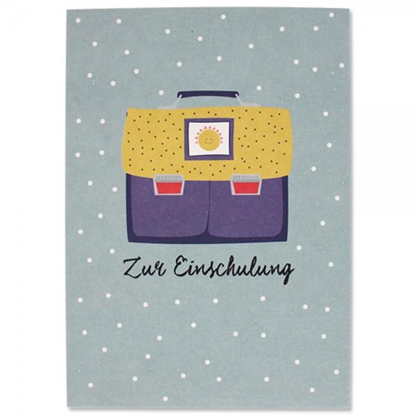 """Postkarte """"Zur Einschulung - Ranzen Sonne"""""""