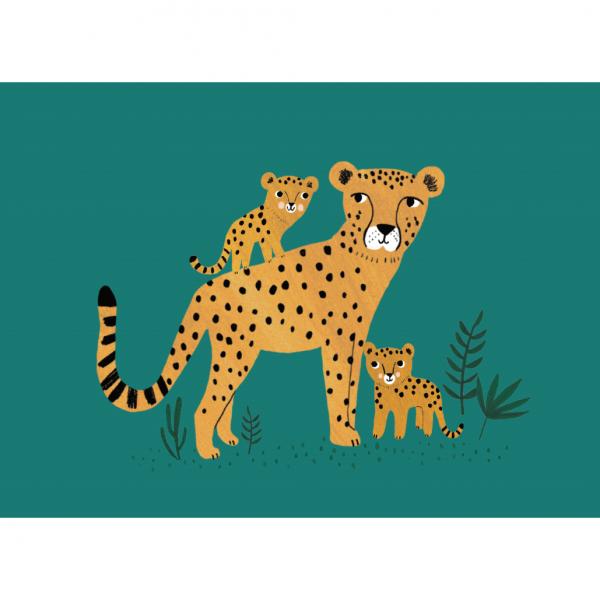 """Postkarte """"Gepard mit Jungen"""" Rebecca Jones"""