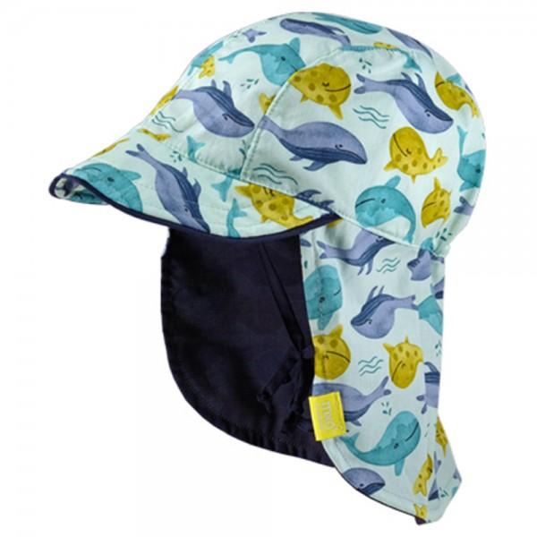 """Sommermütze mit Nackenschutz """"Wale"""" aquablau"""