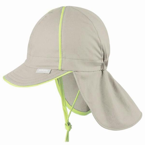 Sommermütze mit Nackenschutz grau/grüngelb