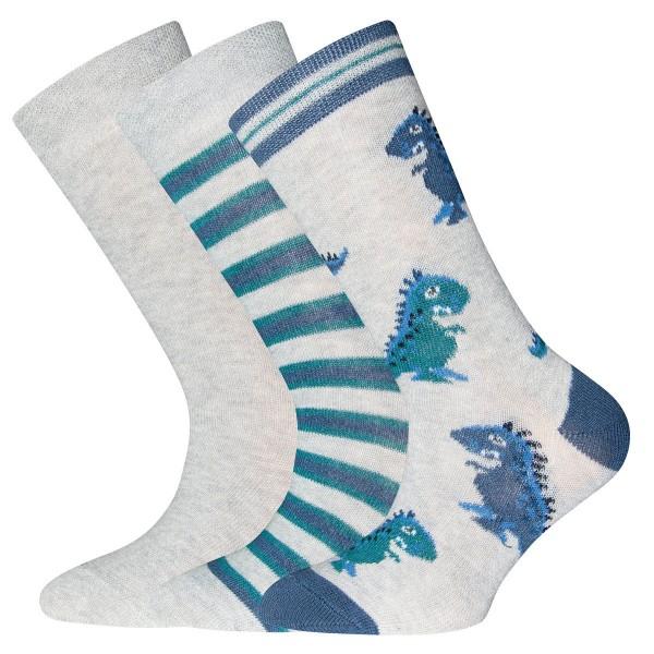 "3er-Pack Socken ""Dinos & Ringel & Uni"" hellgrau melange"