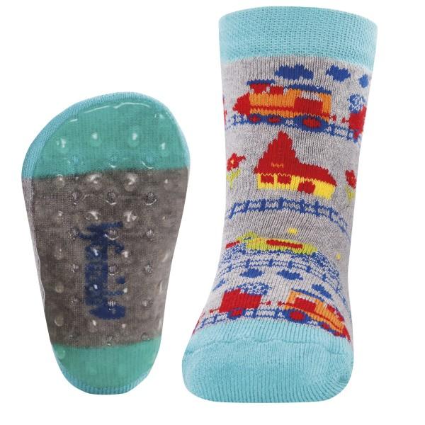 """ABS-Vollsohle-Socken byGraziela """"Eisenbahn"""" grau melange"""