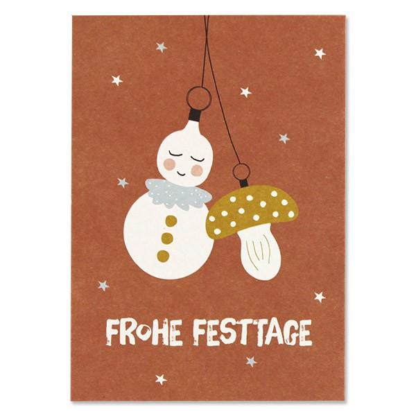 "Postkarte ""Baumschmuck - Frohe Festtage"" altrosa"