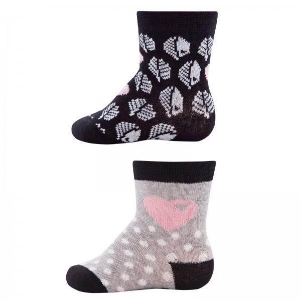 """2er-Pack Socken byGraziela """"Blätter & Herzen"""" schwarz/grau"""