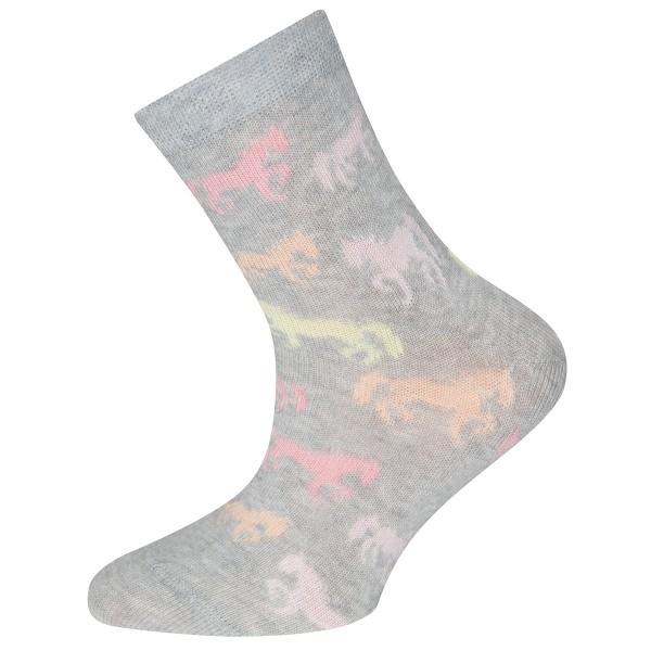 """Socken """"Pferde"""" grau melange"""