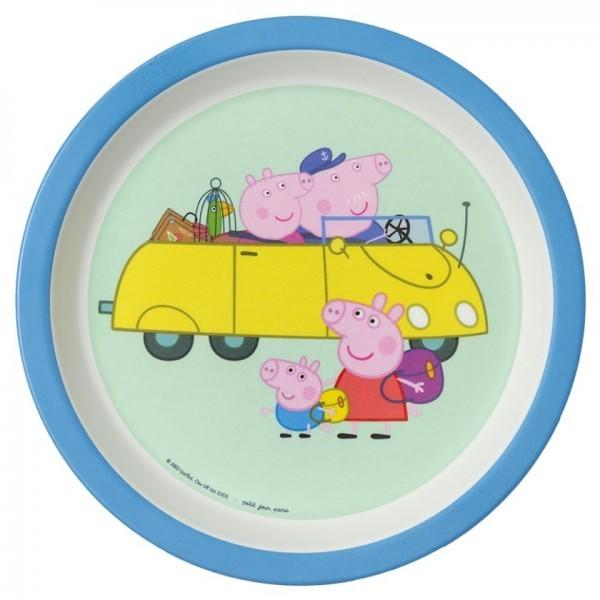 """Melamin-Teller klein Rand """"Peppa Pig"""" Großeltern Auto"""