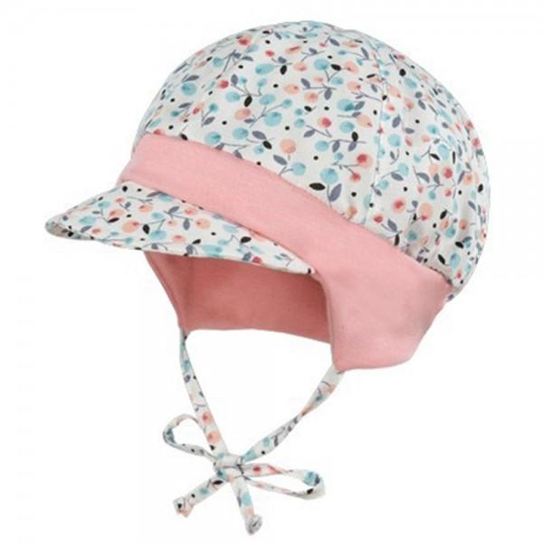 "Babymütze mit Blende ""Blüten & Blätter"" rosa"