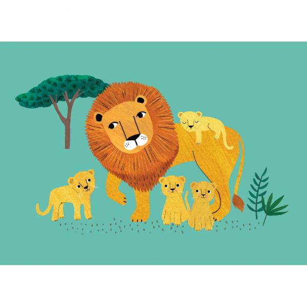 Postkarte Löwe mit Jungen Petit Monkey Rebecca Jones