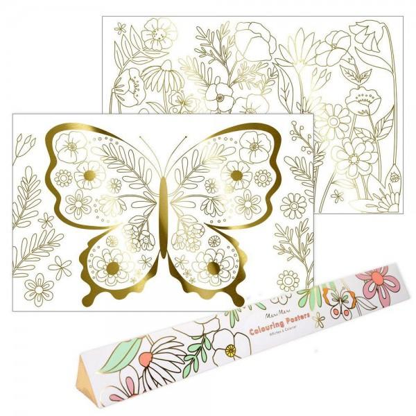 """2 Ausmal-Poster """"Schmetterling & Blumen"""" Goldfolie"""