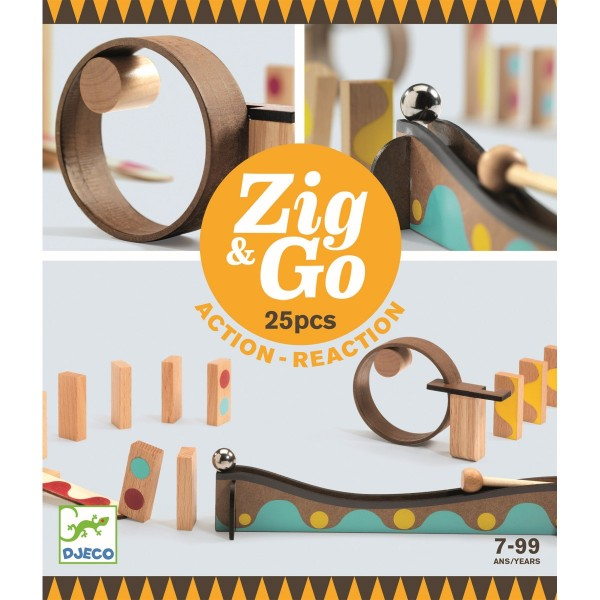 "Murmelbahn Kettenreaktionsspiel ""Zig & Go"" 25 Teile"