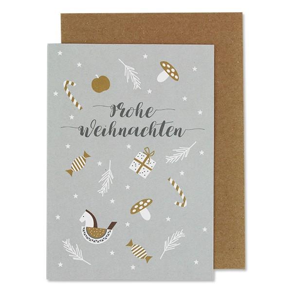 """Klappkarte """"Schaukelpferd & Pilze - Frohe Weihnachten"""" hellgrau"""