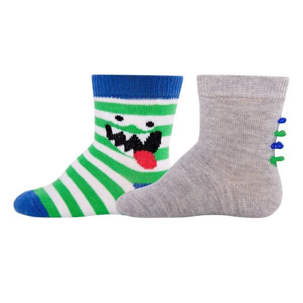 """2er-Pack Socken """"Monster & Ringel"""" grau/grün"""