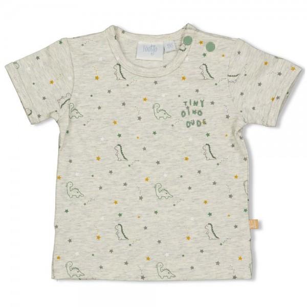 "Bio Baby-Kurzarmshirt ""Dino & Sterne"" grau melange"