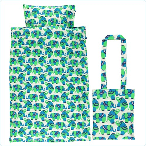Smafolk Bettwäsche Elefanten grün/blau JUNIOR