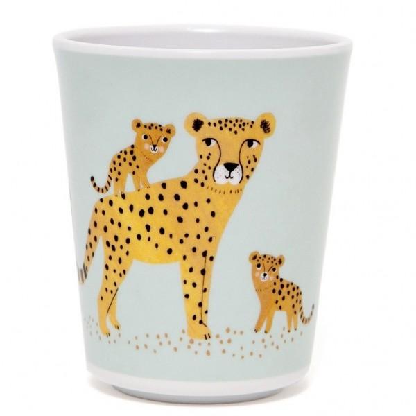 "Melamin-Becher ""Leopard"" aqua"