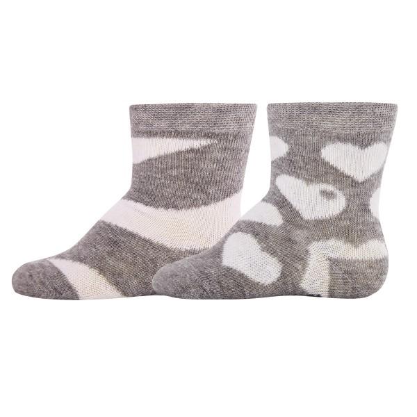 "2er-Pack Socken byGraziela ""Herzen & Ringel"" grau"
